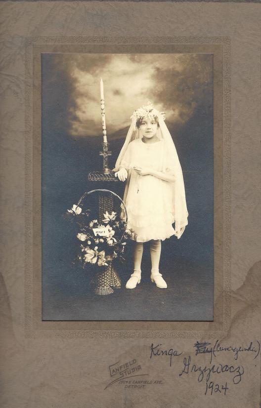 Kinga Grzywacz, 1924 Photo taken at Canfield Studio, 1354 E Canfield Avenue, Detroit, Michigan