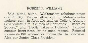 Robert F Williams Yearbook Bio