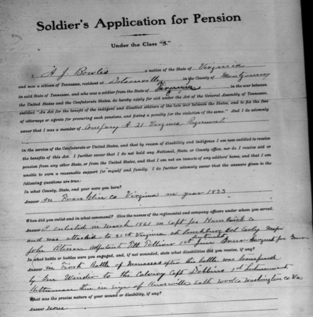 Civil War Pension Application